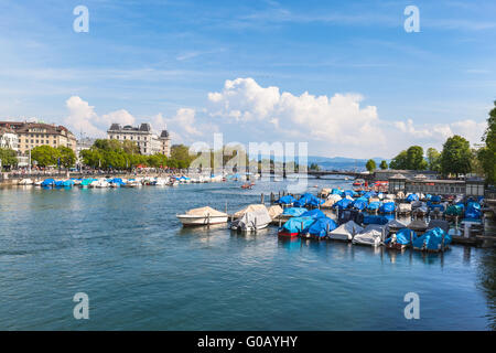 View of Zurich old Town, the lake and the alps in a sunny sommer day, Switzerland - Stock Photo