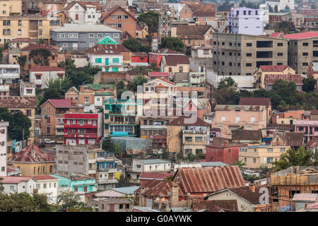 Densely packed houses on the hills of Antananarivo - Stock Photo
