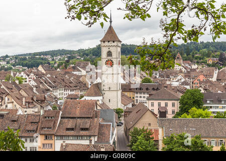 View of Schaffhausen old town from the Munot fortress on a clooudy day, Schaffhausen, Switzerland - Stock Photo