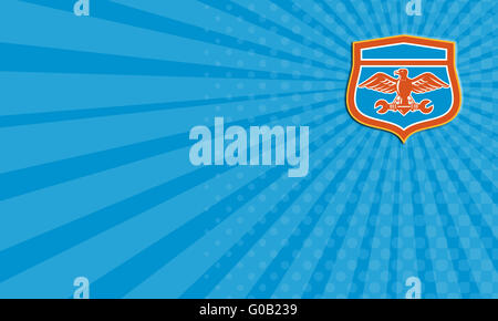 Illustration of a bald eagle holding a shield using its talons with business card eagle holding spanner shield retro stock photo reheart Images