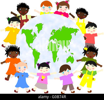 Children of different races around the map of our - Stock Photo