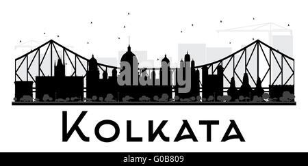 Kolkata City skyline black and white silhouette. Vector illustration. Simple flat concept for tourism presentation, - Stock Photo
