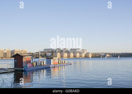 Boat gas station with a view in Stockholm, Sweden - Stock Photo