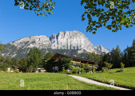 Farmhous and Berchtesgadener Hochthron - Stock Photo