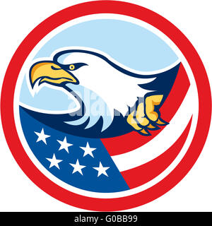 American Bald Eagle Clutching Flag Circle Retro - Stock Photo