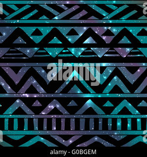 Aztec Tribal Seamless Pattern on Cosmic Background - Stock Photo