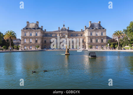 Luxembourg Palace in Jardin du Luxembourg, Paris, France - Stock Photo