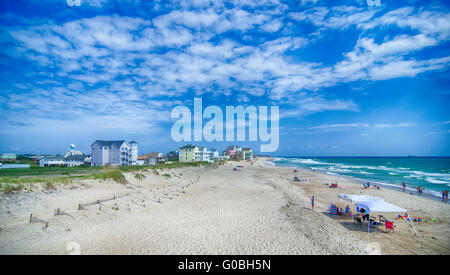 at fishing pier on the Outer Banks, North Carolina - Stock Photo