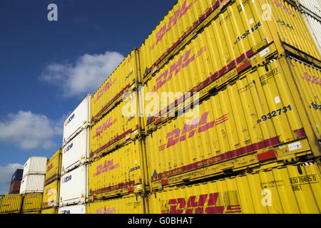 In the container harbour of Dortmund, Germany - Stock Photo