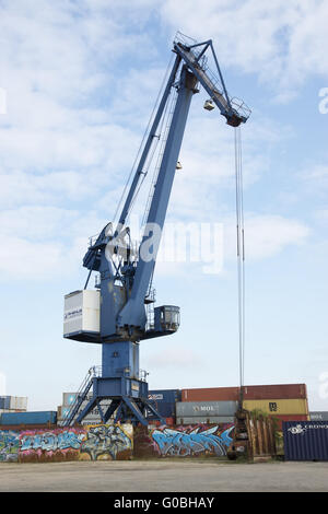 Crane in the container harbour of Dortmund, German - Stock Photo