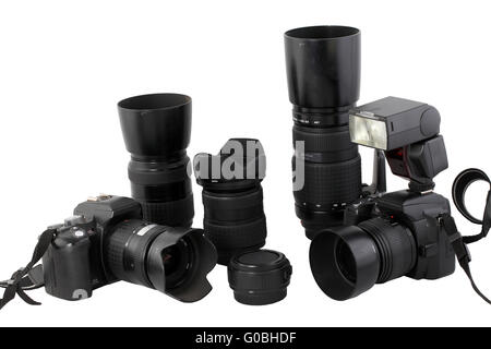 Black digital SLR cameras lens flash system - Stock Photo