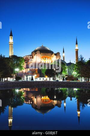 Hagia Sophia Mosque in the evening. Istanbul, Turkey. - Stock Photo