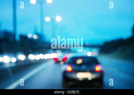 Road with car shot with blurred focus - Stock Photo