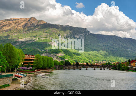 Lecco (Italy) Ponte Vecchio and river Adda - Stock Photo