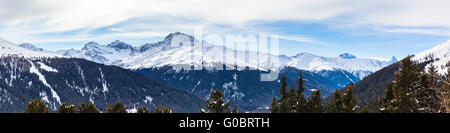 Panorama view of the Alps above Davos in Winter, Canton of Grisons, Switzerland. - Stock Photo