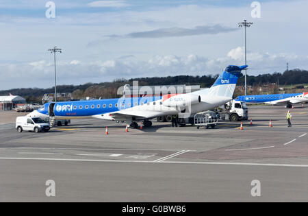 BMI Regional plane on ground at airport, another behind - Stock Photo