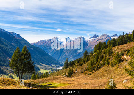 Panorama view of the Loetschental valley and the mountain range of alps in canton of Valais from the hiking path - Stock Photo