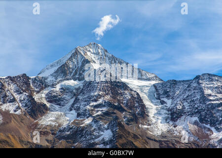 Close view of Bietschhorn in canton Wallis to the south of the Bernese Alps in Switzerland. its northeast and southern - Stock Photo