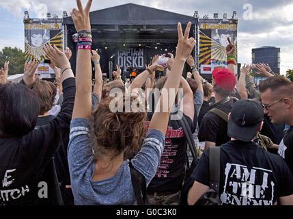 People at rock concert, Oberhausen, Germany - Stock Photo