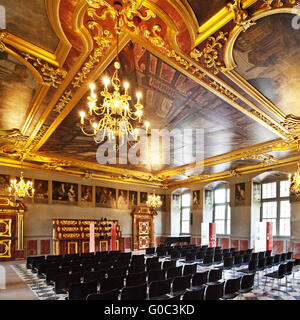 Knights hall, castle Iburg, Germany - Stock Photo