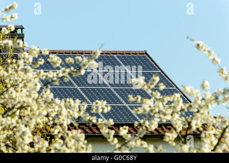 photovoltaic solar panels on roof, Germany - Stock Photo