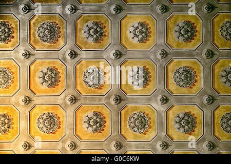 Interior of historical building - hand-painted ceiling - Stock Photo