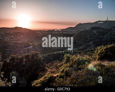 Hollywood Sign At Sunset Over Hills
