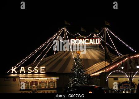 A circus tent in the evening - Stock Photo