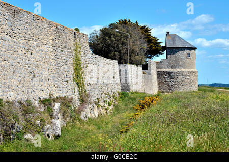 Ramparts of the citadel of Port-Louis in the Morbihan department in Brittany in north-western France - Stock Photo