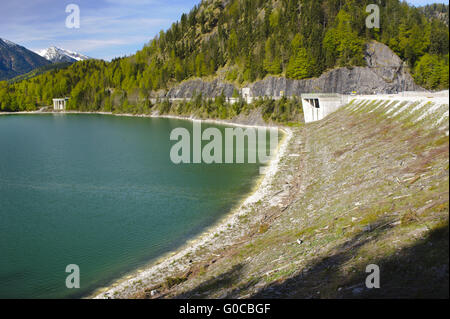 river Isar and dam in Bavaria - Stock Photo