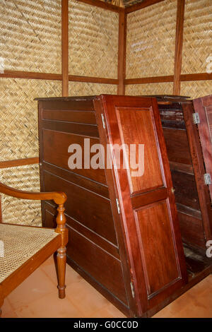 View of a wooden sauna box in an Ayurvedic clinic - Stock Photo