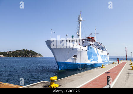 Moby lines car ferry in Port of Cavo, Elba island - Stock Photo