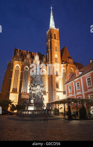 Church of the Holy Cross and St Bartholomew from 13th century at night in Wroclaw, Poland, statue, sculpture of - Stock Photo