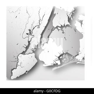 Map of New York City with boroughs. - Stock Photo