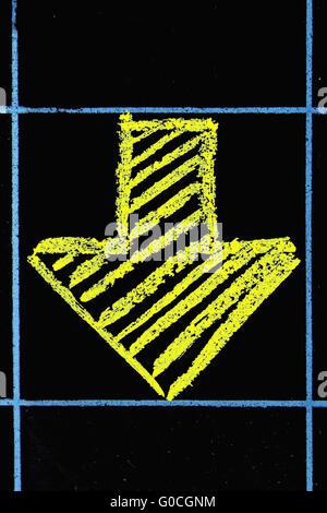 down side arrow sign handwritten on black chalkboard - Stock Photo