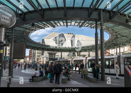 Printemps Department Store and tramway station in Strasbourg,  Alsace, France - Stock Photo