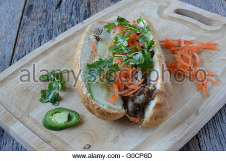 Vietnamese Grilled Pork Banh Mi Sandwich on Rustic Wood Background - Stock Photo