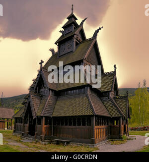 Gol Stave Church in Norway on cloudy day - Stock Photo