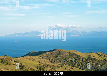 The strait of gibraltar and the african coast of morocco - Moroccan port on the strait of gibraltar ...