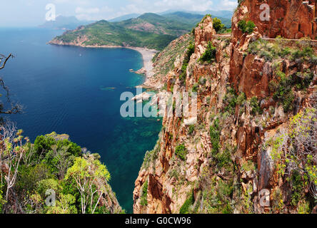 Panoramic View on the cliffs in the Gulf of Porto - Stock Photo