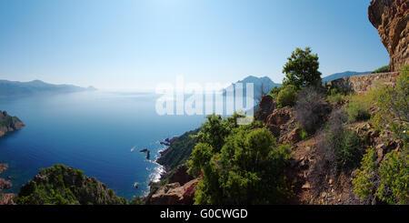Panoramic view of the Gulf of Porto - Corsica - Stock Photo