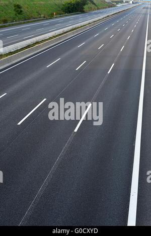 empty 8-lane highway due to road and bridge works - Stock Photo