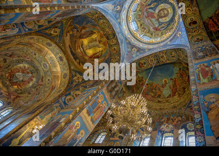 Interior of Savior on the Spilled Blood Cathedral in St. Petersburg - Stock Photo