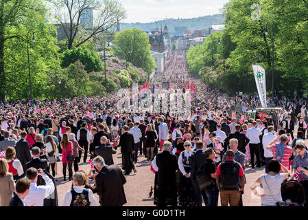 Norwegian Constitution Day on Karl Johan street - Stock Photo