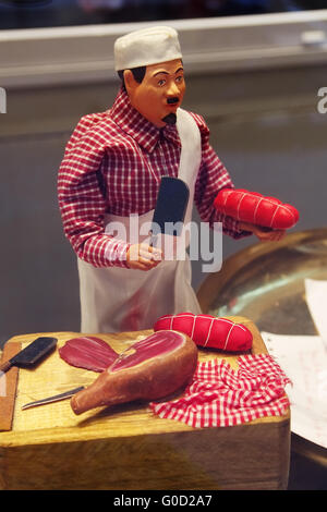 Miniature model of a butcher - Old Town of Nice - Stock Photo