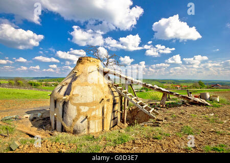 Charcoal production plant in rural region of Croatia - Stock Photo