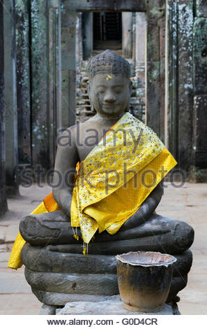 Buddha in old temple - Stock Photo