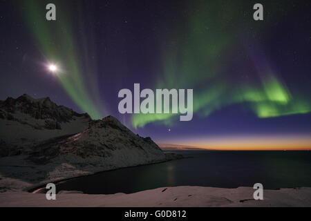 Northern lights (Aurora borealis), Senja, Norway - Stock Photo