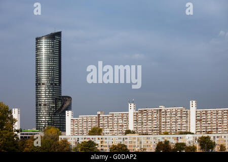 Poland, Wroclaw, Sky Tower skyscraper and blocks of flats, apartment, buildings, houses, condominium, urban, residential - Stock Photo