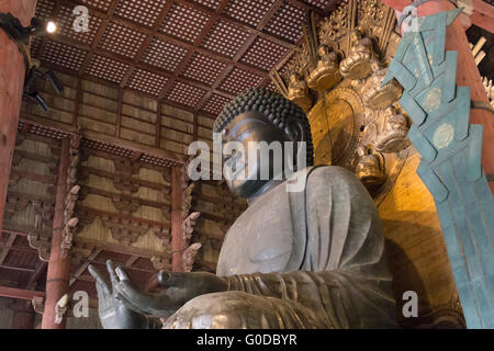 World largest bronze buddha statue in the Todai-ji temple in Nara, Japan. - Stock Photo
